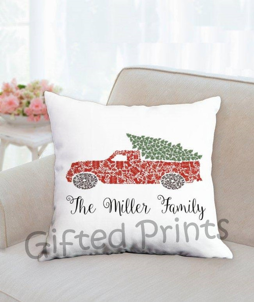 Custom Mosaic Holiday Pillow- Red Truck Christmas Theme