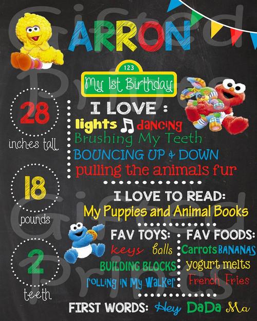 Baby Sesame Street Birthday Chalkboard