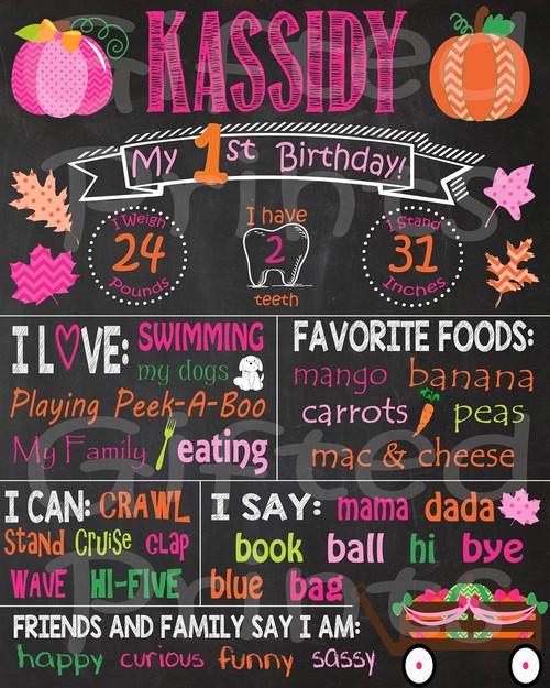 Pink Pumpkin Birthday Chalkboard
