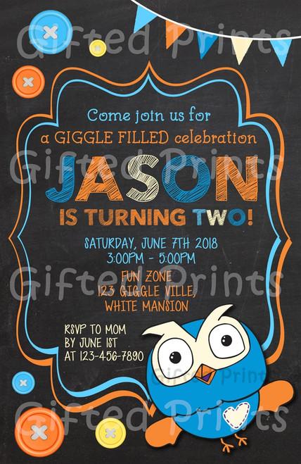 Giggle & Hoot Owl Birthday Invitation Boy Themed