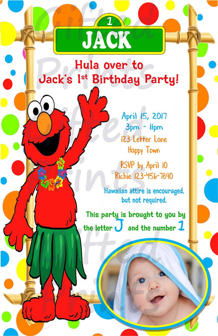 Elmo Luau Birthday Invitation 1