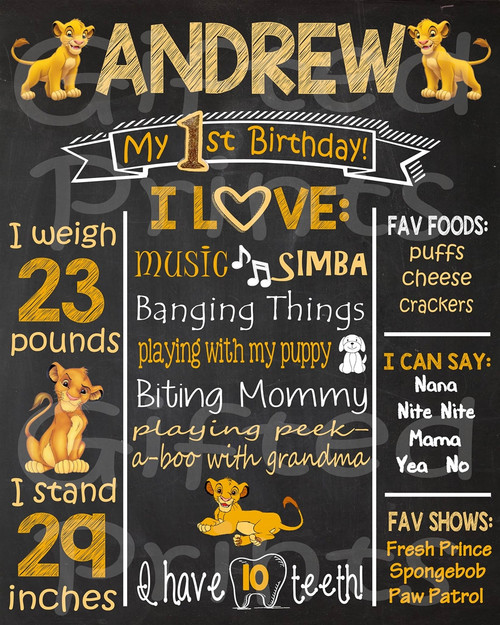 Simba Lion King Birthday Chalkboard