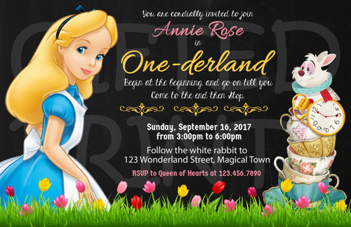 Alice in Onederland Birthday Invitation