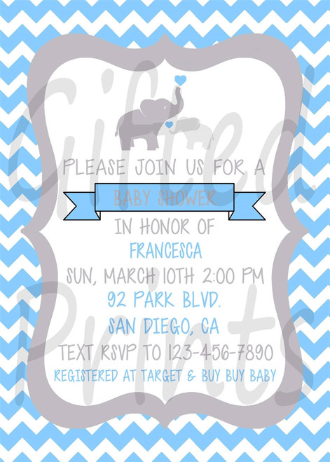 Elephant Baby Shower Invitation 2