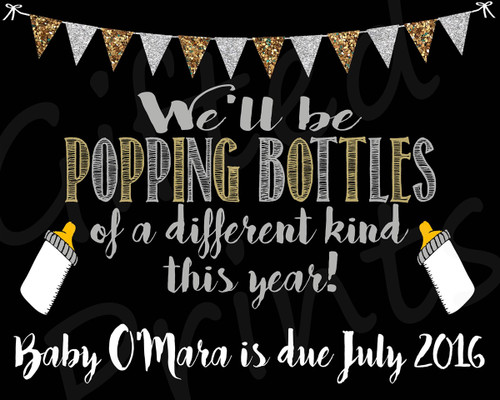 Pregnancy Announcement, New Years Popping Bottles Theme