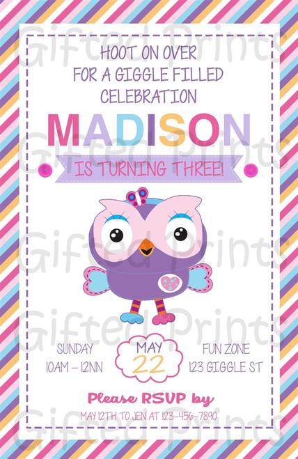 Giggle & Hoot Owl Birthday Invitation Girl Themed Striped Border