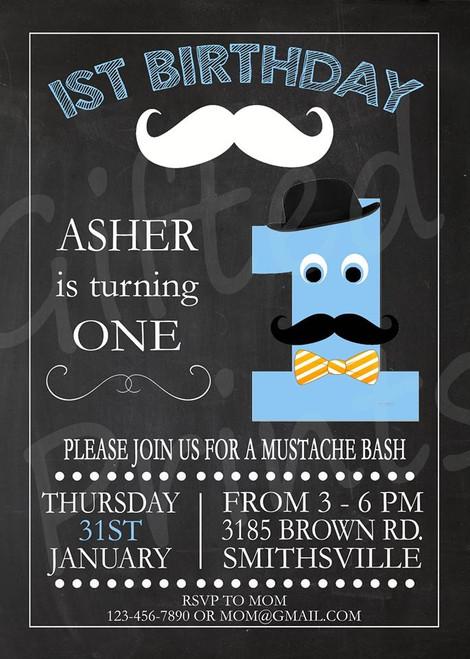 Little Man Mustache Bash Birthday Invitation 1