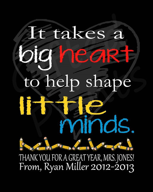 Teacher Gift, Big Heart Print
