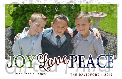 Joy Love & Peace Holiday Card