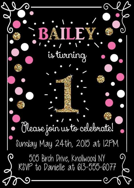 Pink and Gold Confetti Birthday Invitation
