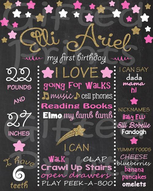 Twinkle Twinkle Little Star Birthday Chalkboard