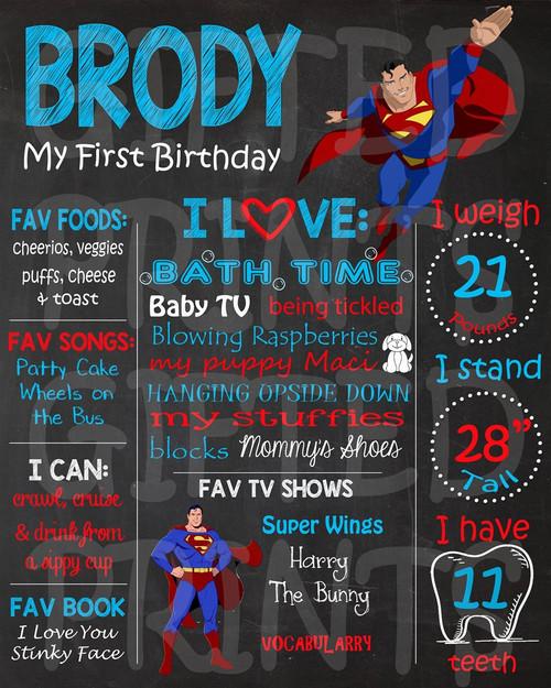 Superman Birthday Chalkboard