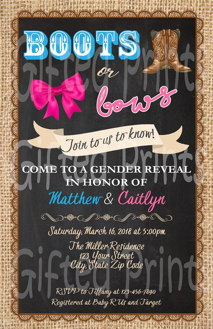 Boots or Bows Gender Reveal Invitation Texture Sack Border
