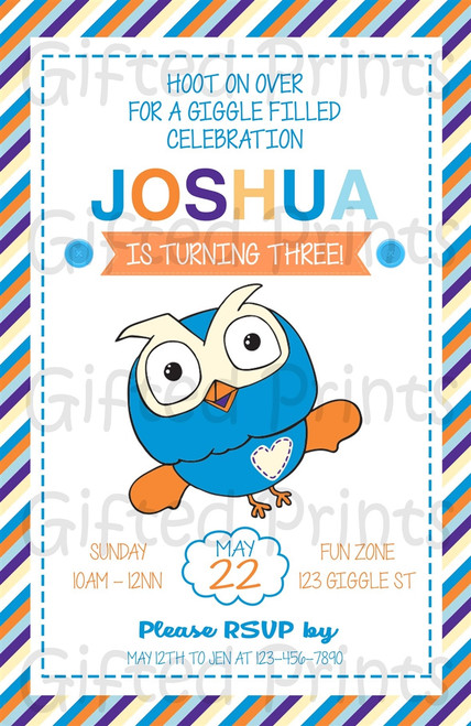 Giggle & Hoot Owl Birthday Invitation Boy Themed Striped Border