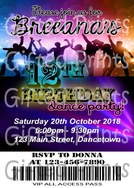 Disco Dance Party Birthday Invitation