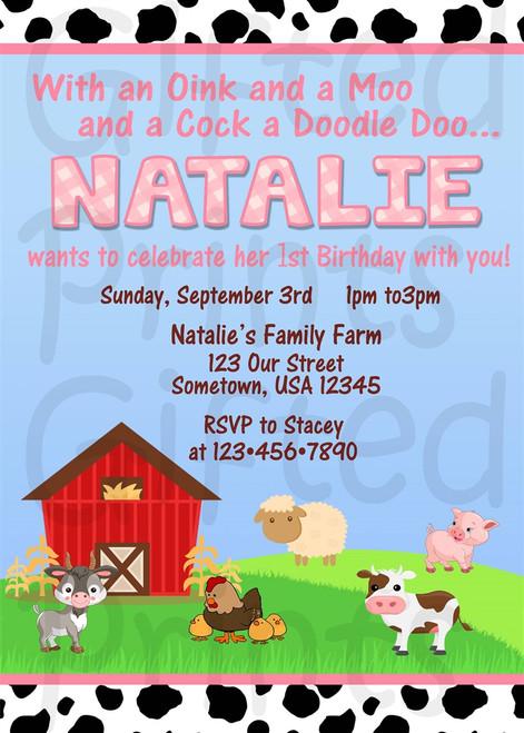 Barnyard Farm Birthday Invitation Pink Theme