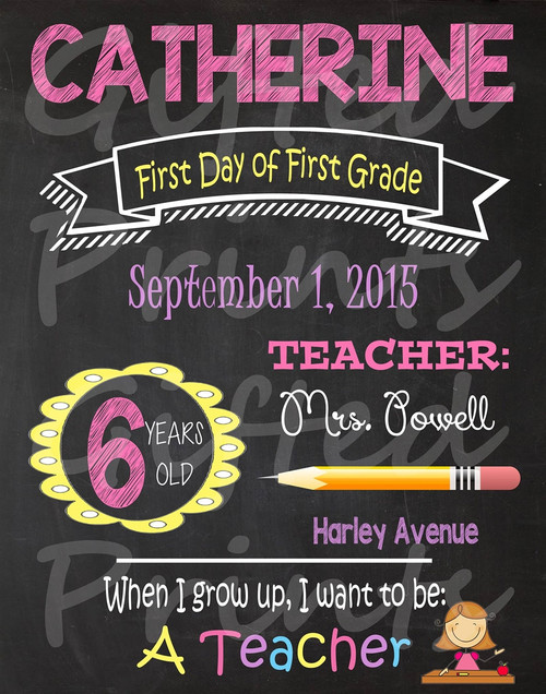 When I Grow Up First Day of School Chalkboard 3