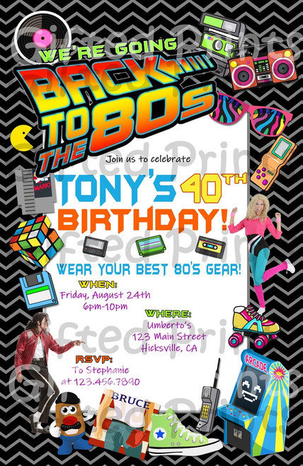 Back to the 80's Birthday Invitation Chevron Theme
