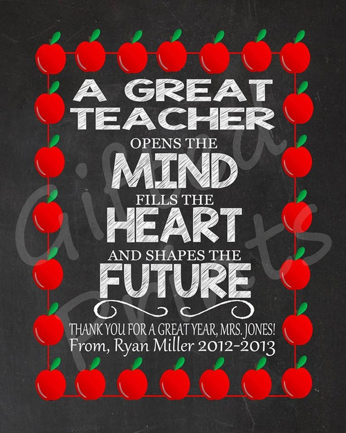 Teacher Gift, Great Teacher Print