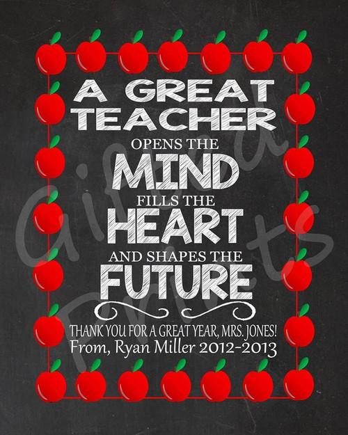 Teacher Gift, Great Teacher Print