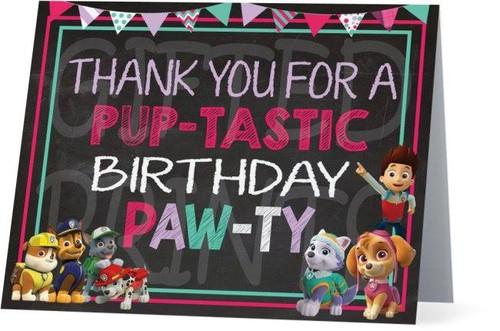 Folded Skye Paw Patrol Thank You Card