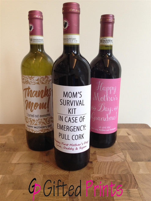 Mom Survival Kit Wine Label