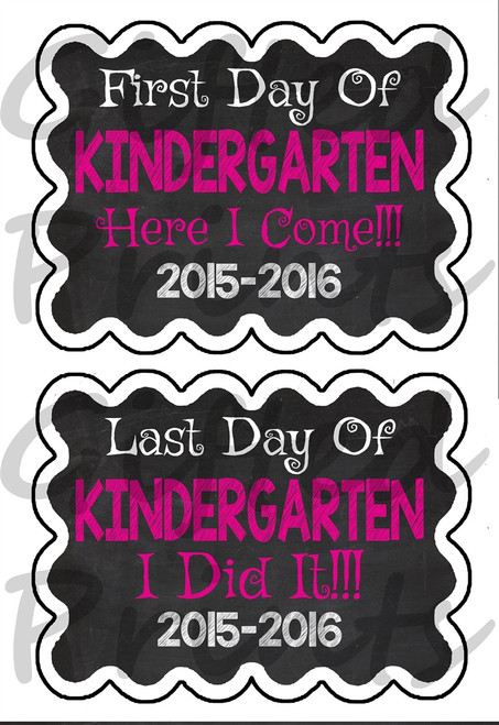 Basic First Day/Last Day of School Chalkboard Pink