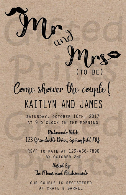 Mr & Mrs To Be Couples Bridal Shower Invitation
