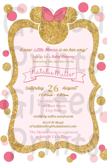 Minnie Mouse Baby Shower Invitation Pink and Gold Polka Dots