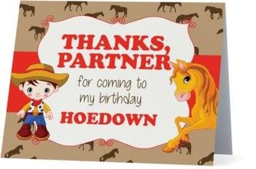 Folded Cowboy Thank You Card