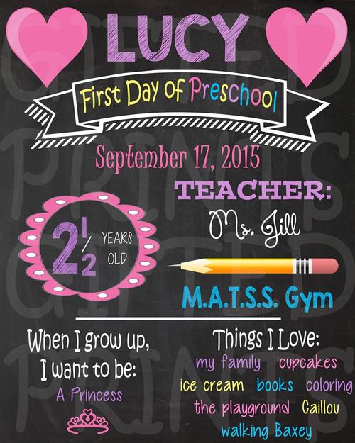 Hearts First Day of School Chalkboard 1