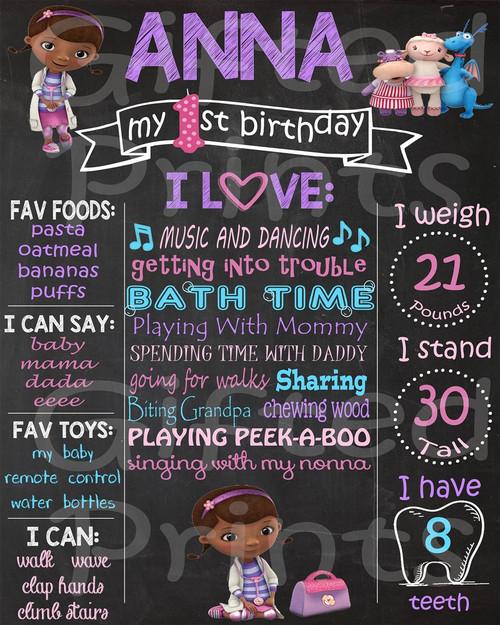 Doc McStuffins Birthday Chalkboard