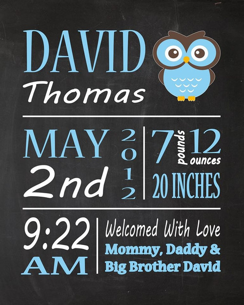 Birth Announcement Wall Hanging, Owl Print