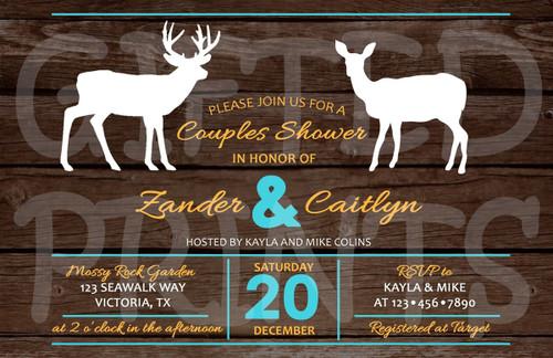 Stag & Doe Couples Bridal Shower Invitation
