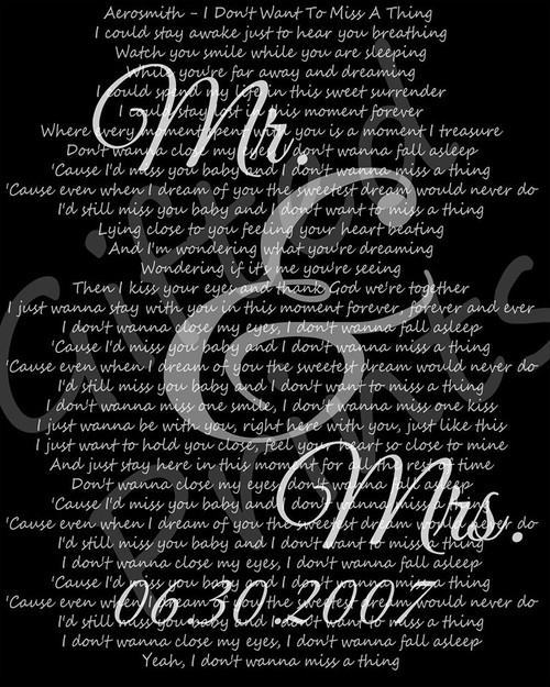 Wedding First Dance Song Lyrics Print