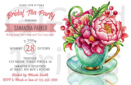 Tea Party Bridal Shower Invitation 1
