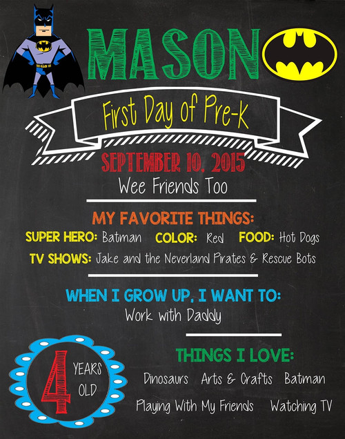 Batman First Day of School Chalkboard