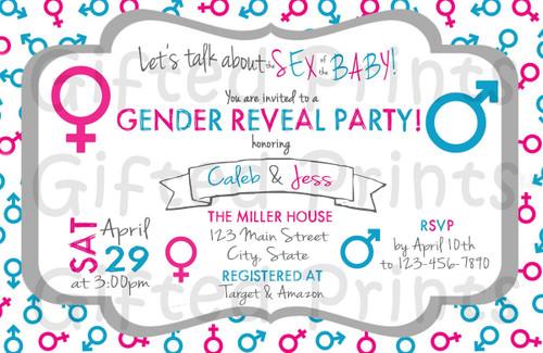 Talk About Sex Gender Reveal Invitation