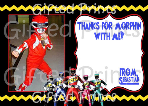 Power Rangers Thank You Card With Picture