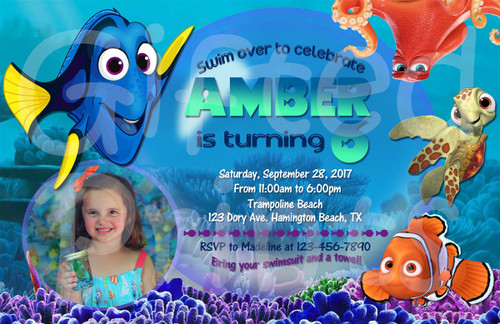 Nemo and Dory Birthday Invitation