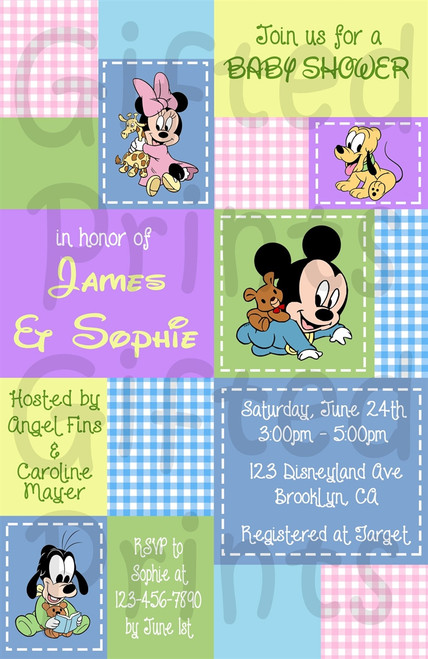 Disney Babies Baby Shower Invitation Patchwork Theme