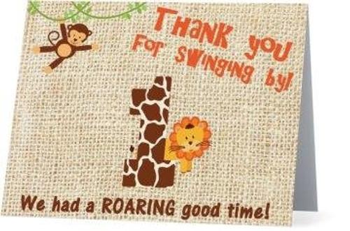 Folded Jungle Safari Thank You Card