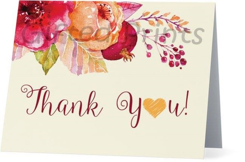 Folded Fall In Love Thank You Card