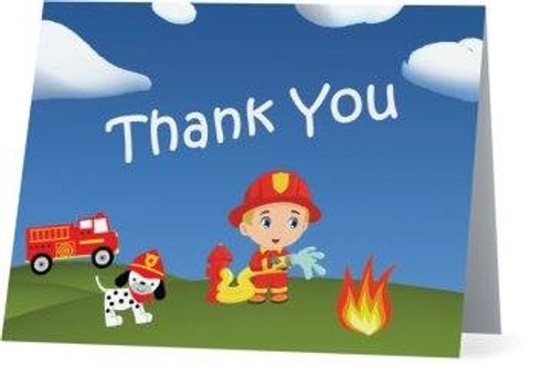 Folded Fire Truck Thank You Card