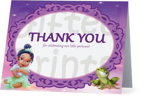 Folded Princess and the Frog Thank You Card