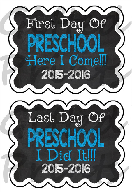Basic First Day/Last Day of School Chalkboard Blue