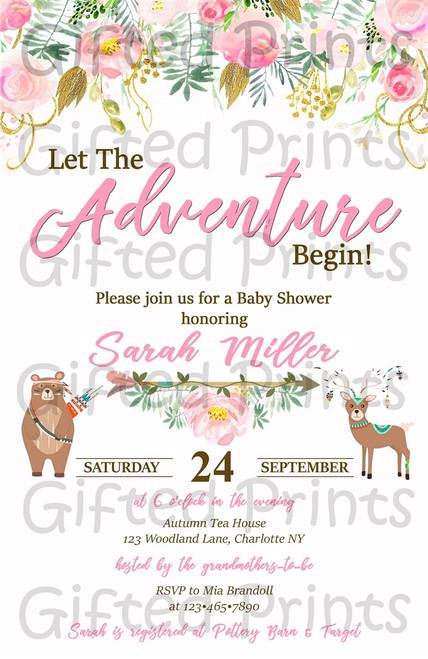 Woodland Baby Shower Invitation Pink Tribal
