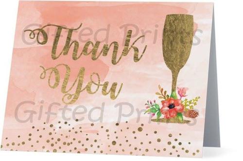 Folded Brunch & Bubbly Thank You Card 1