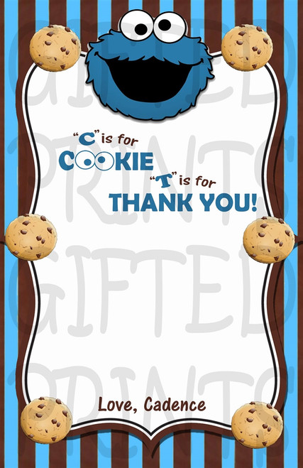 Cookie Monster Sesame Street Thank You Card 1