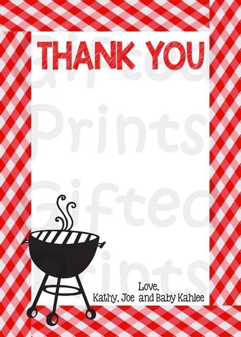 Baby-Q Thank You Card Picnic Border